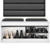 Duży wieszak z panelami W5P + szafka na buty SBP3C Czarny