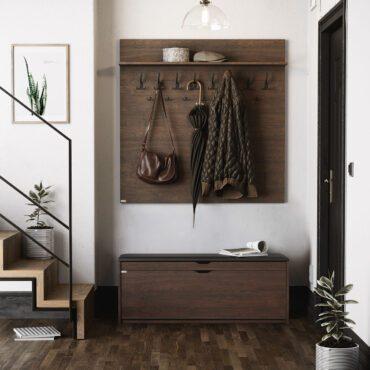 Szafka na buty z siedziskiem SBH1 dużym wieszakiem i panelami tapicerowanymi