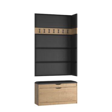 Zestaw wieszak W06B z panelami P02 + szafka na buty SBH1