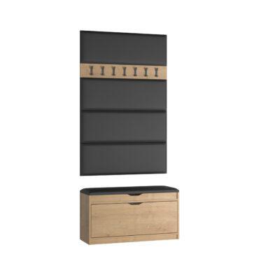 Zestaw wieszak W06 z panelami P02 + szafka na buty SBH1